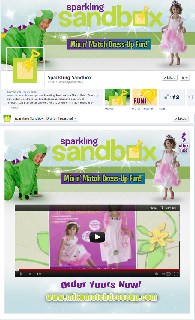 Sparking Sandbox Custom Facebook Timeline Package designed by www.CustomTwit.com